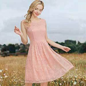 Cheap Bridesmaid Dresses Under $100 Bbonlinedress Women's Vintage Floral Lace Sleeveless Bridesmaid Dress photo