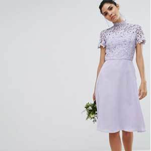 Cheap Bridesmaid Dresses Under $100 Purple ASOS Chi Chi London 2 in 1 High Neck Midi Dress with Crochet Lace photo