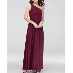 Cheap Bridesmaid Dresses Under $100 Burgundy DB Studio Micro-Pleated Mesh One-Shoulder Bridesmaid Dress photo