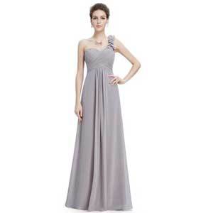 Cheap Bridesmaid Dresses Under $100 Ever-Pretty Grey One-Shoulder Evening Gown photo