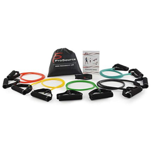 Five resistance bands in different colors and weights photo