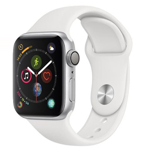 Apple Watch with a white silicone band and silver frame photo