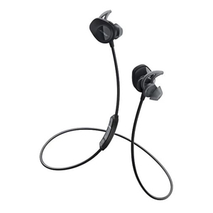 Black Bose wireless headphones with a neck strap photo