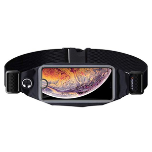 Black running belt that fits almost any smartphone photo
