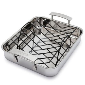 Aluminum roasting pan with a stainless steel interior and a black rack from Sur La Table photo