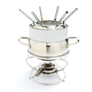 Stainless steel fondue pot with six forks from Sur La Table photo