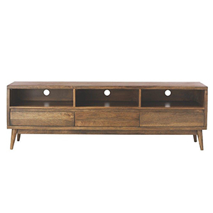 Dark wood entertainment stand with three drawers below. photo
