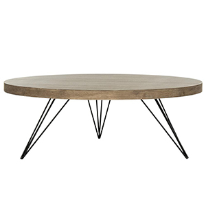 Round dark wood accent table with three hairpin legs. photo