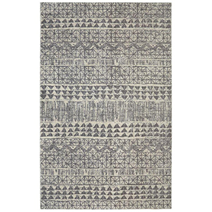 Rectangular gray area rug with tribal print design. photo