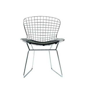 Modern metal chair with grid wiring and a black cushion. photo