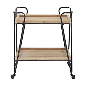 Wooden bar cart with two shelves and matte black legs. photo