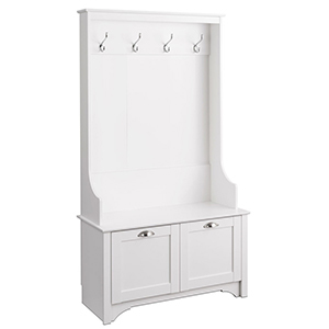 White coat rack attached to a large storage bench. photo