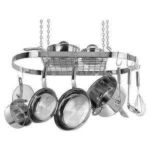 Stainless steel kitchen cookware rack. photo