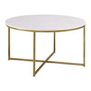 Round coffee table with marble top and gold legs. photo