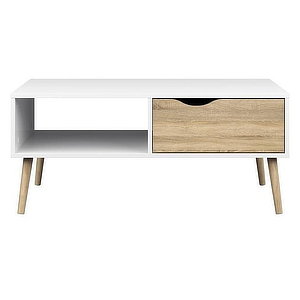 Midcentury-modern coffee table with storage drawer and shelf. photo