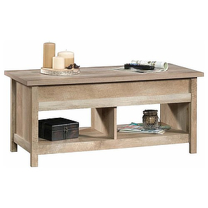Coffee table with two shelves below and the top lifts up. photo