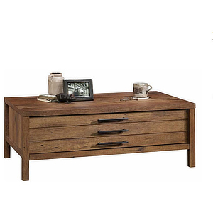 Wooden coffee table with large storage compartment. photo
