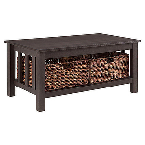 Coffee table with two wicker baskets on the lower shelf. photo