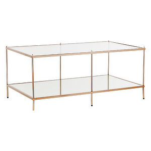 Gold coffee table with glass top and bottom. photo