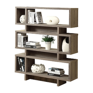 Modern bookcase with three shelves and white accessories.Awe photo