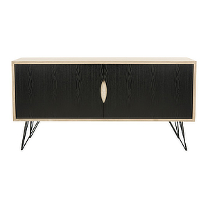 Wooden credenza with black doors and hairpin legs. photo