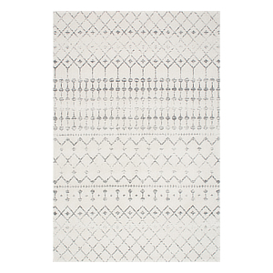 Contemporary rug in ivory with a gray print. photo