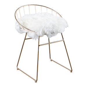 Metal accent chair with round back with white fur seat. photo