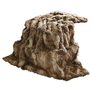 A faux fur blanket with a range of shades of brown. photo