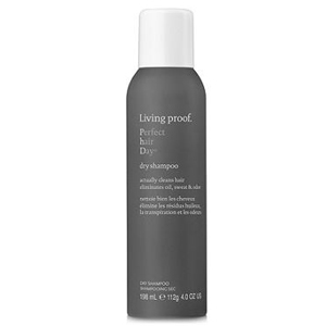 Living Proof dry shampoo in a dark gray and white spray can photo