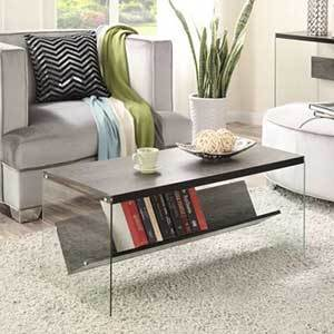 Wood and glass coffee table with bookshelf underneath photo