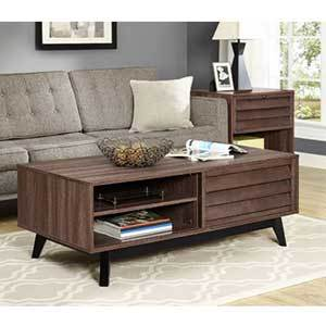 Wood coffee table with slide door and drawers photo