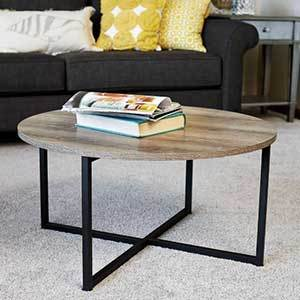 Round wood coffee table with metal legs photo