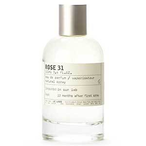 Bottle of Le Labo Rose perfume with white label photo