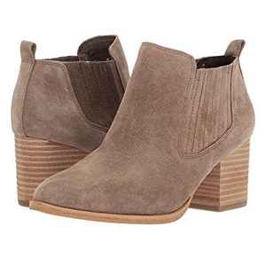 Light gray suede boots with a low block heel. photo