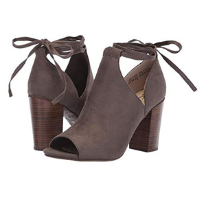 Dark gray suede peep-toe boots with a block heel and a tie-bow in the back photo