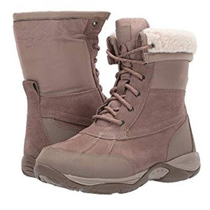 Lace-up snow boots in the color taupe with faux-shearling lining photo