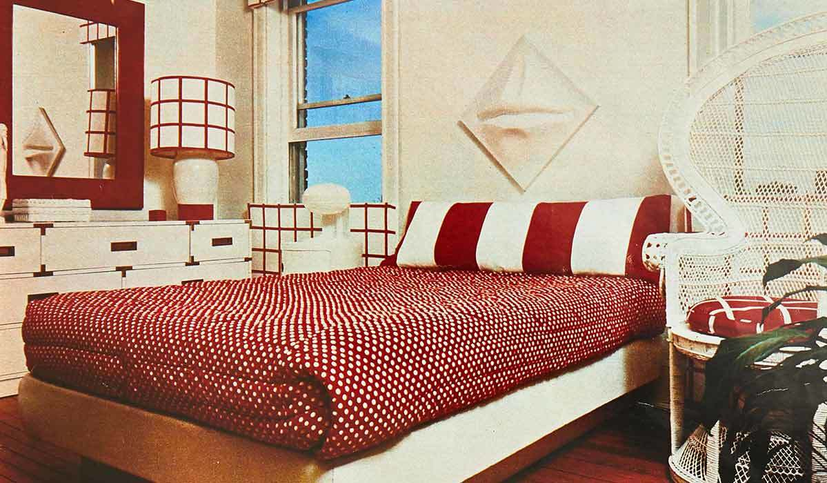 Bedroom with a red-and-white theme from Better Homes & Gardens archives - 1976 photo