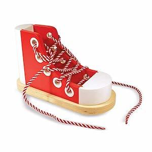 Best Montessori Toys for 3 Year Old Kids Melissa & Doug Deluxe Wood Lacing Sneaker photo