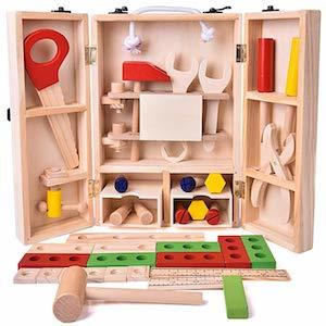 Best Montessori Toys for Three Year Old Kids Fun Little Toys Wooden Tool Box Toy Set photo