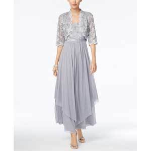Mother of the Bride Dresses Under $250 R&M Richards Sequined Lace Belted Gown and Jacket photo