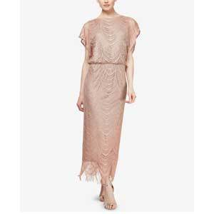 Mother of the Bride Dresses Under $250 SL Fashions Glitter-Crochet Blouson Dress photo