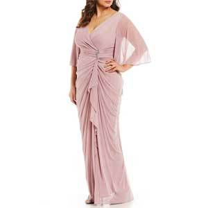 Mother of the Bride Dresses Under $250 Adrianna Papell V-Neck Ruffle Front Long Gown photo
