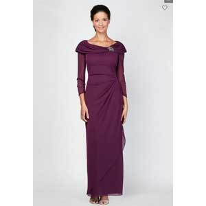 Mother of the Bride Dresses Under $250 Alex Evenings Long Sleeve Sheath Dress with Portrait Collar photo