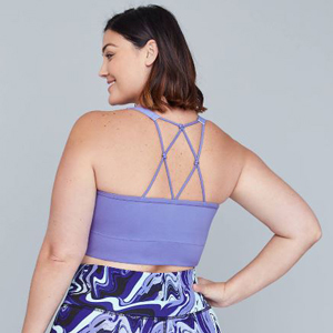 Purple plus-size sports bra with wicking lace and knotted back photo