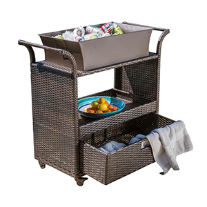 Brown bar cart with tub and drawer for storage. photo