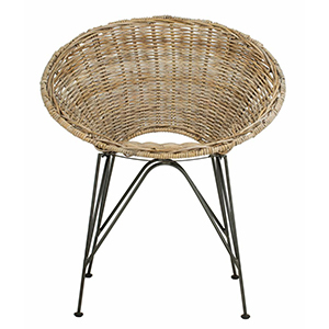 Round outdoor chair designed with rattan material and has an open back. photo