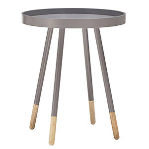 Gray wooden side table with natural leg tips. photo