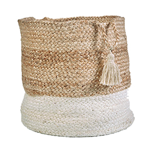 Jute basket with a natural colored top and white bottom. photo