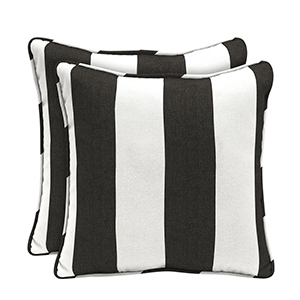 Black and white striped throw pillows in a set of two. photo