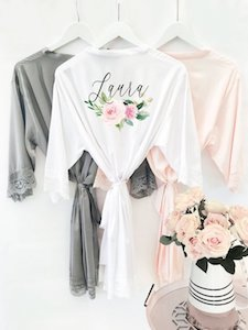 Bridal Party Robes Etsy Floral Satin & Lace Personalized Bridesmaid Robes photo